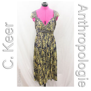 Blue & Yellow Jersey Knit Batik Swirl Print Dress